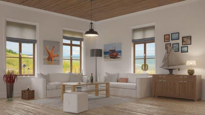 Holzdecke im Wohnzimmer
