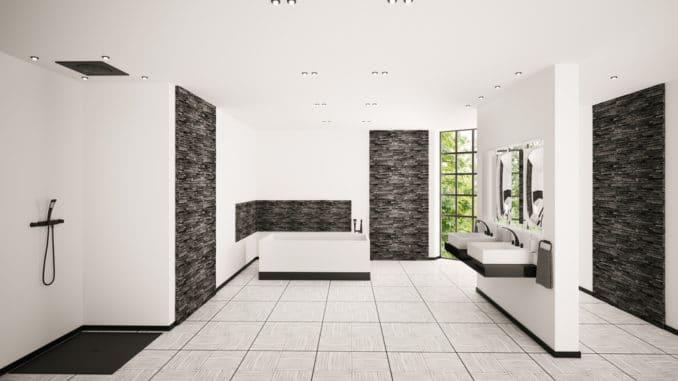 Modernes Badezimmer mit schwarzen Armaturen