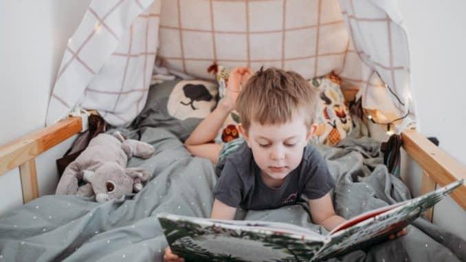 Junge liest im Kinderbett mit Höhle